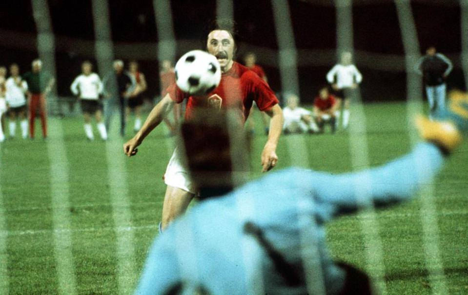Antonin Panenka cooly chips the West Germany goalkeeper from the penalty spot to win the European Nations Championship for Czechoslovakia against Germany in 1976.