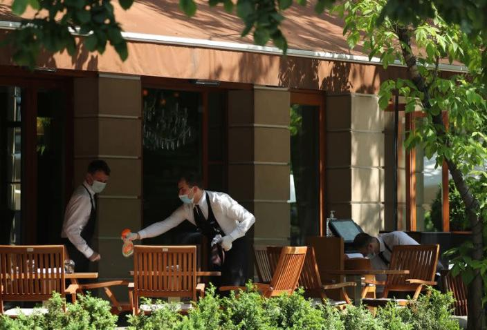 Restaurants and cafes reopen summer terraces following the easing of measures against the spread of the coronavirus disease in Moscow