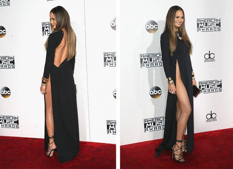 Chrissy Teigen wasn't up for any awards at the AMAs but she might've won one anyway. Her black dress's slit could've been the highest one ever made, reaching all the way up past her hip, and was secured in place with a gold safety pin. (Photo: Getty Images)
