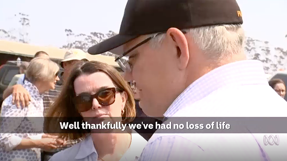 Scott Morrison is seen visiting with residents of Kangaroo Island on Wednesday. Source: The Today Show