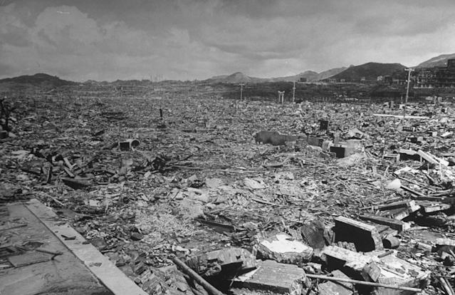 <p>Former business district of Nagasaki in Sept. 1945 where 18,000 hotels, office buildings and homes once stood before the total devastation of the U.S. atomic bomb dropped a month earlier. (Photo: Bernard Hoffman/The LIFE Picture Collection/Getty Images) </p>