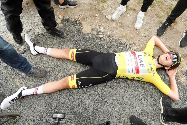 Team UAE Emirates' Tadej Pogacar was exhausted at the mountaintop finish