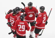 Canada players celebrates a goal against the Czech Republic during the first period of an IIHL World Junior Hockey Championship game, Saturday, Jan. 2, 2021 in Edmonton, Alberta. (Jason Franson/The Canadian Press via AP)