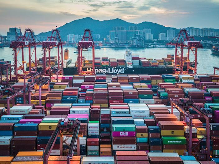 A long exposure drone panorama of the Kwai Chung container port in Hong Kong. (Photo by Marc Fernandes/NurPhoto via Getty Images)