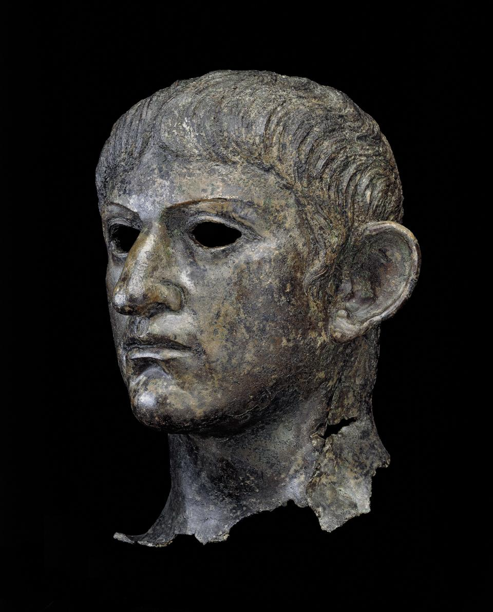 Head from a copper statue of the emperor Nero, found in England, AD 54–61 (The Trustees of the British Museum/PA)