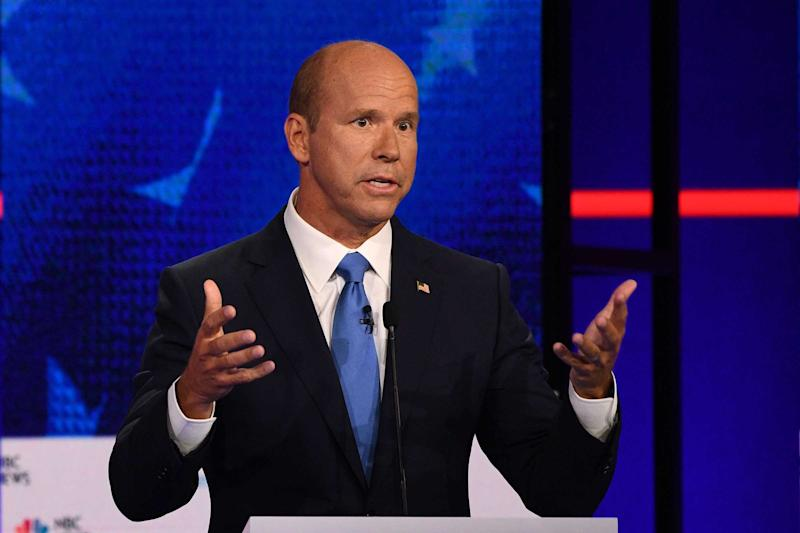 Democratic presidential hopeful former US Representative for Maryland's 6th congressional district John Delaney gestures as he speaks during the first Democratic primary debate of the 2020 presidential campaign season hosted by NBC News at the Adrienne Arsht Center for the Performing Arts in Miami, Florida, June 26, 2019. | Jim Watson—AFP/Getty Images