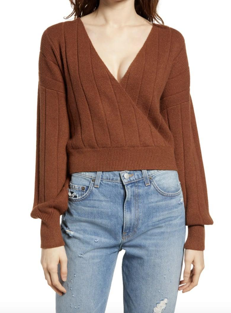 <p>We love the earthy shade of this <span>Leith Rib Wrap Sweater</span> ($29, originally $49).</p>