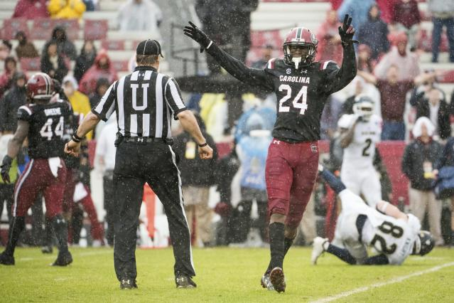 South Carolina defensive back Israel Mukuamu (24) celebrates a defensive stop against Akron during the first half of an NCAA college football game Saturday, Dec. 1, 2018, in Columbia, S.C. South Carolina defeated Akron 28-3. (AP Photo/Sean Rayford)