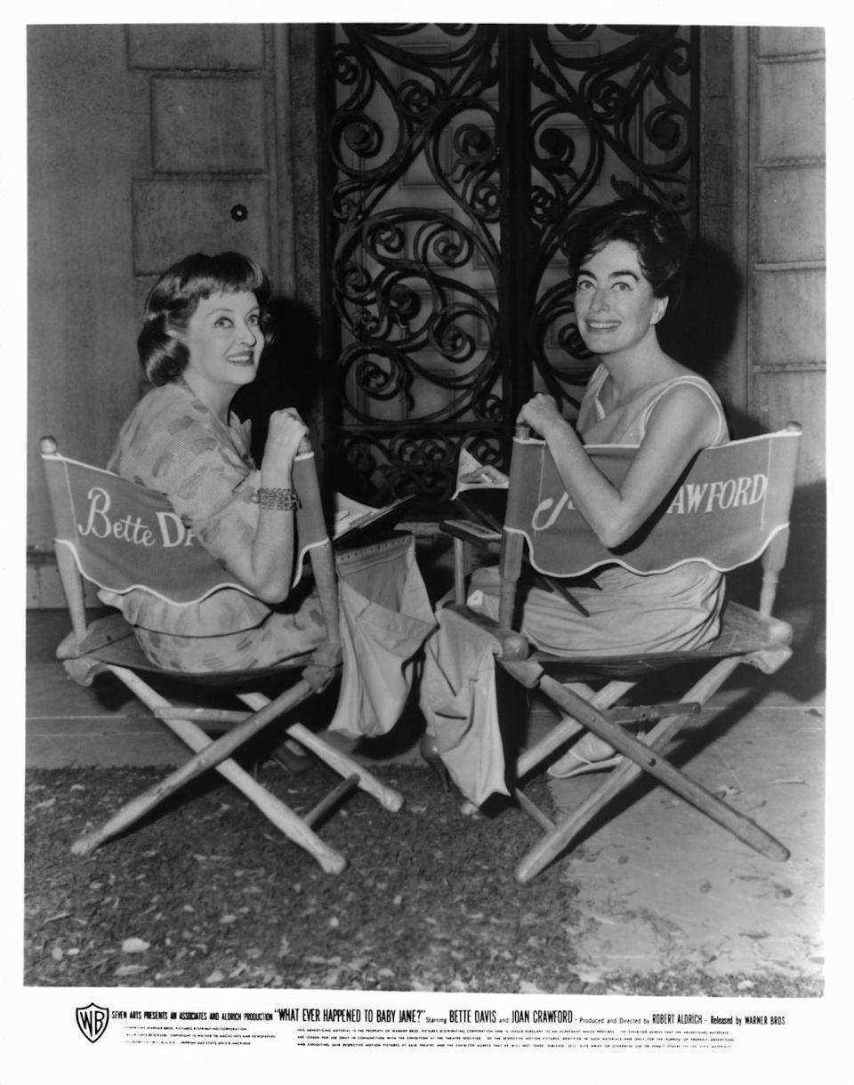 """<p>Of course, the two actresses' feud didn't end there. Their rivalry reached its most famous heights during the filming of their 1962 movie, <em><a href=""""https://www.amazon.com/What-Ever-Happened-Baby-Jane/dp/B004WECFSK?tag=syn-yahoo-20&ascsubtag=%5Bartid%7C10063.g.36311311%5Bsrc%7Cyahoo-us"""" rel=""""nofollow noopener"""" target=""""_blank"""" data-ylk=""""slk:Whatever Happened to Baby Jane?"""" class=""""link rapid-noclick-resp"""">Whatever Happened to Baby Jane?</a></em>, where things reportedly got intense on set. When Bette got nominated for an Academy Award for Best Actress for her role, Joan then hatched a plan so that she was able to go on stage to accept the very same award, on behalf of the winning actress Anne Bancroft. The two stars reportedly never amends before they both died. </p><p><strong>RELATED: </strong><a href=""""https://www.goodhousekeeping.com/life/g30143210/old-hollywood-stars-on-set-photos/"""" rel=""""nofollow noopener"""" target=""""_blank"""" data-ylk=""""slk:40 Iconic Photos of Old Hollywood Stars on Set"""" class=""""link rapid-noclick-resp"""">40 Iconic Photos of Old Hollywood Stars on Set</a></p>"""