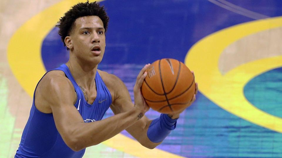 Jan 19, 2021; Pittsburgh, Pennsylvania, USA;  Duke Blue Devils forward Jalen Johnson (1) warms up before playing the Pittsburgh Panthers at the Petersen Events Center. Mandatory Credit: Charles LeClaire-USA TODAY Sports ORG XMIT: IMAGN-443430 ORIG FILE ID:  20210119_gma_al8_085.jpg