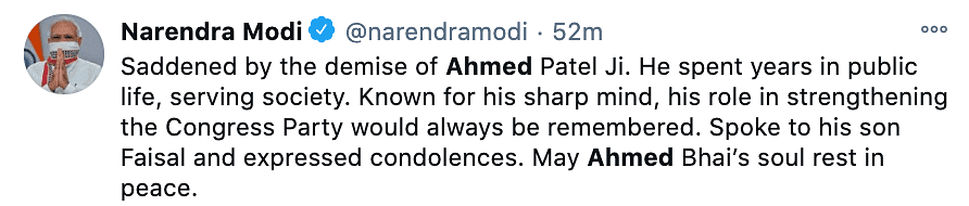 PM Modi reacts to Ahmed Patel passing away