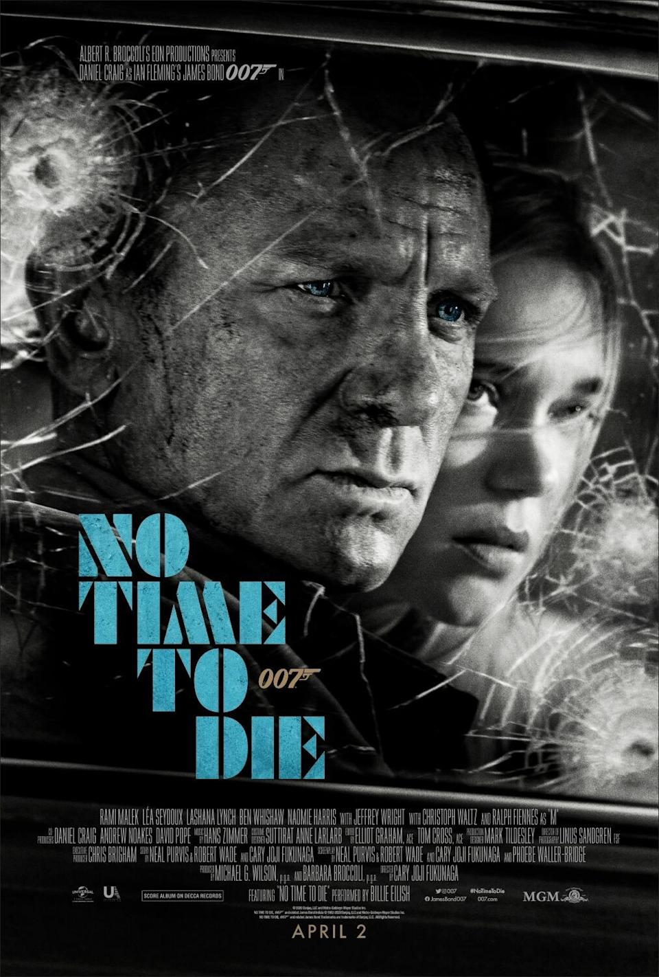 Daniel Craig's piercing blue eyes highlight this monochrome poster that bears the original April release date. (Universal/MGM/Eon)