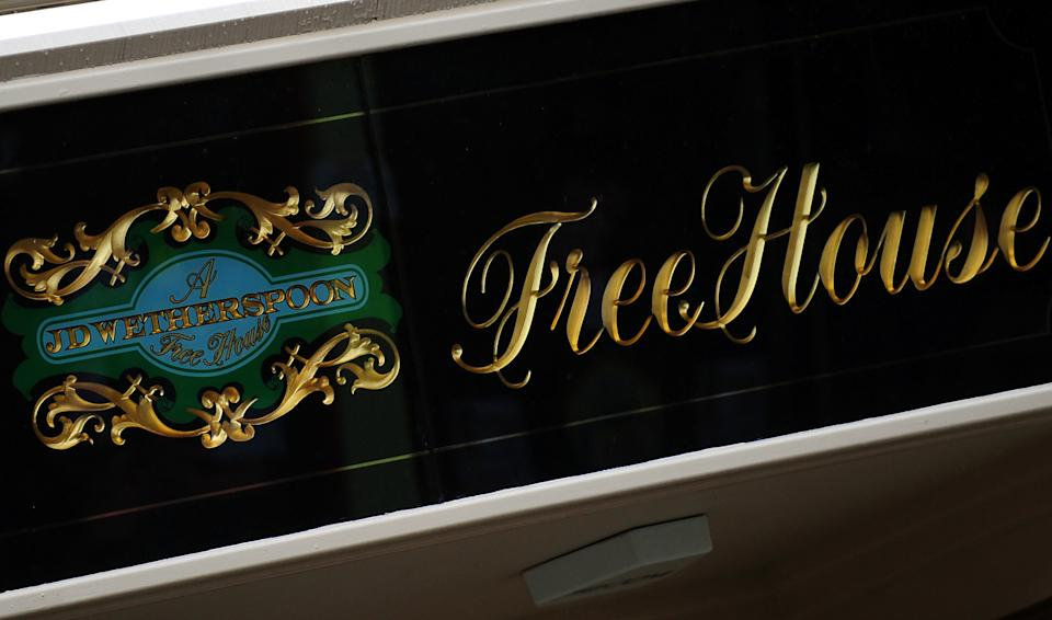 JD Wetherspoon logo outside The Lord Burton pub in Burton on Trent, Staffordshire.   (Photo by Rui Vieira/PA Images via Getty Images)
