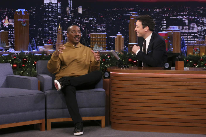 THE TONIGHT SHOW STARRING JIMMY FALLON -- Episode 1180 -- Pictured: (l-r) Actor Eddie Murphy during an interview with host Jimmy Fallon on December 20, 2019 -- (Photo by: Andrew Lipovsky/NBC/NBCU Photo Bank via Getty Images)