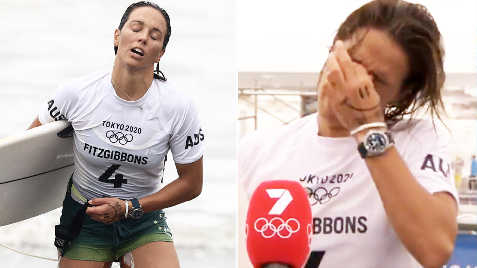 Sally Fitzgibbons, pictured here bursting into tears after being eliminated from the surfing event at the Olympics.