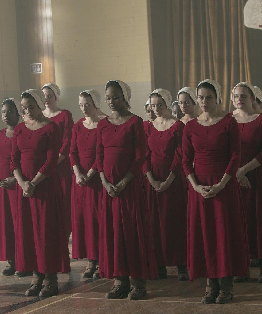 "The Handmaid's Tale — ""Unfit"" – Episode 308 — June and the rest of the Handmaids shun Ofmatthew, and both are pushed to their limit at the hands of Aunt Lydia. Aunt Lydia reflects on her life and relationships before the rise of Gilead. Janine (Madeline Brewer), Brianna (Bahia Watson), Ofmatthew (Ashleigh LaThrop), Alma (Nina Kiri), and June (Elisabeth Moss), shown. (Photo by: Sophie Giraud/Hulu)"
