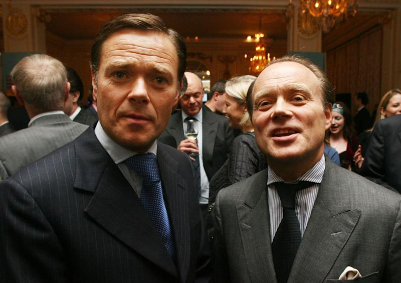 Aidan (right) and Howard Barclay attend the the launch of The Business Magazine, at the Mandarin Oriental Hotel, in central London, on Wednesday 11th October 2006.. (Photo by PA Images via Getty Images)