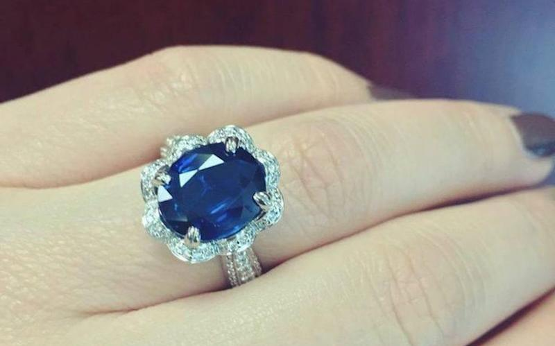 There is a growing demand for coloured stones, like this sapphire ring