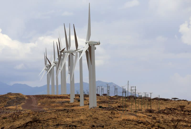 FILE PHOTO: Power-generating wind turbines are seen at the Lake Turkana Wind Power project in Loiyangalani district, Marsabit County