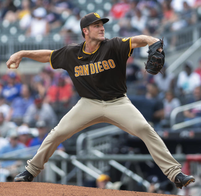 San Diego Padres starting pitcher Reiss Knehr throws to an Atlanta Braves batter during the first inning of the second game of a baseball doubleheader Wednesday, July 21, 2021, in Atlanta. (AP Photo/Hakim Wright Sr.)