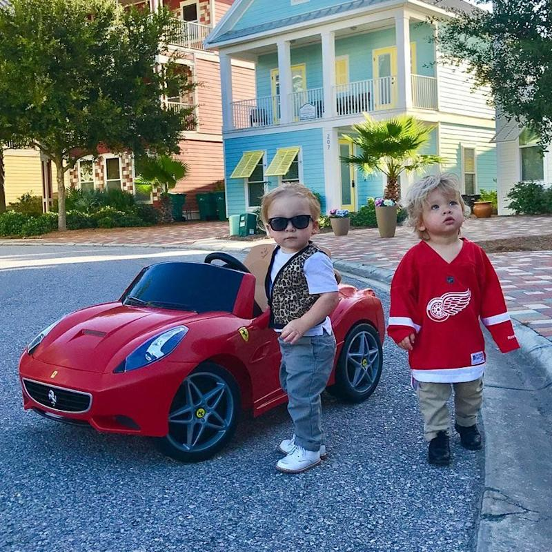 Twin toddlers Charlie and Row channeled Ferris Bueller and Cameron Frye for a cute Halloween photo shoot.