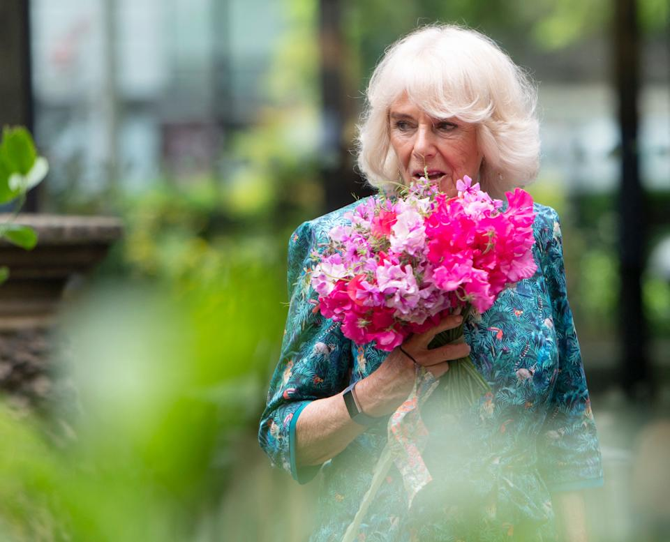 Britain's Camilla, Duchess of Cornwall visits the Garden Museum to open the annual British Flowers Week festival in London on June 10, 2021. (Photo by Geoff Pugh / POOL / AFP) (Photo by GEOFF PUGH/POOL/AFP via Getty Images)