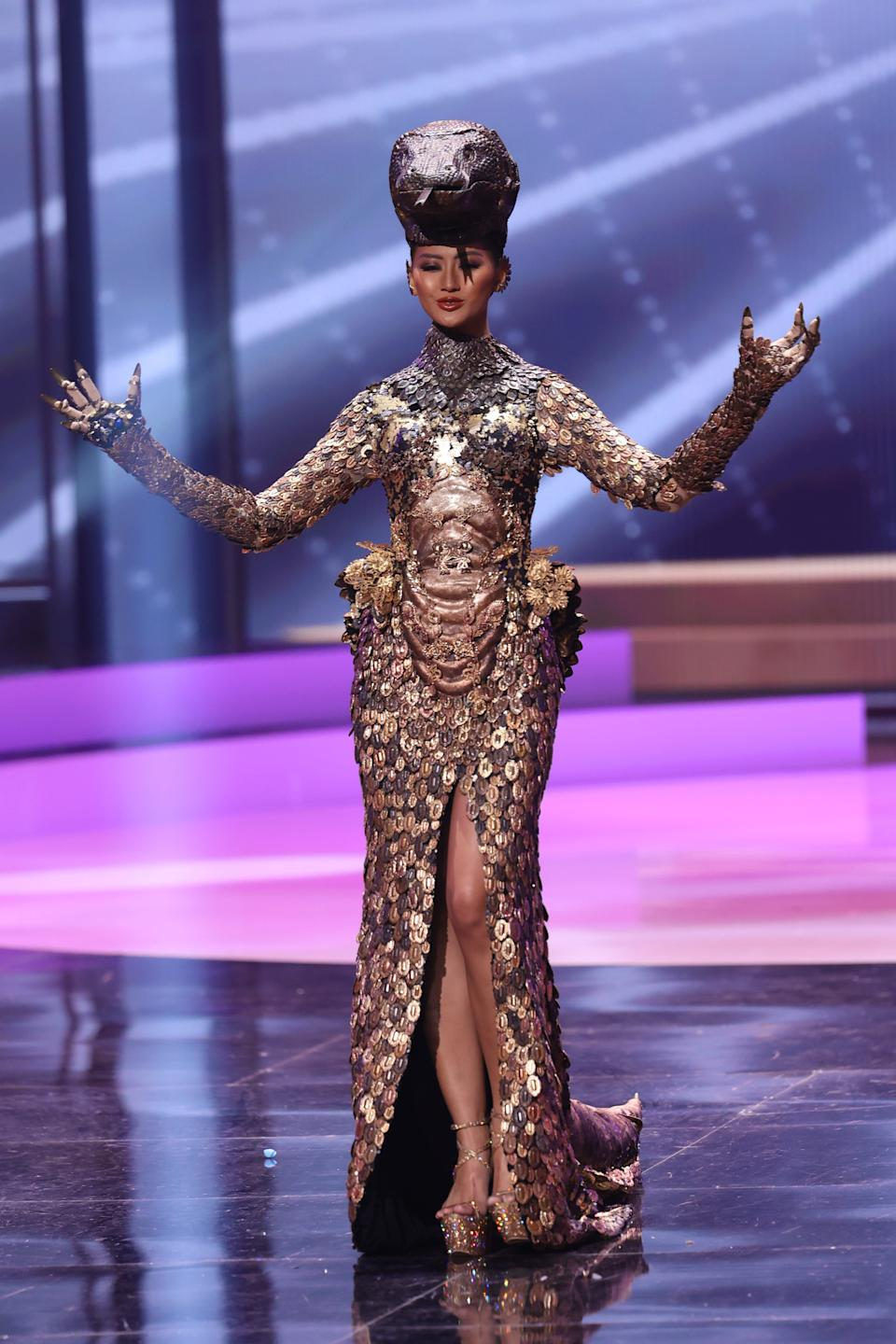 <p>Miss Indonesia Ayu Maulida Putri appears onstage at the Miss Universe 2021 - National Costume Show at Seminole Hard Rock Hotel & Casino on May 13, 2021 in Hollywood, Florida. (Photo by Rodrigo Varela/Getty Images)</p>