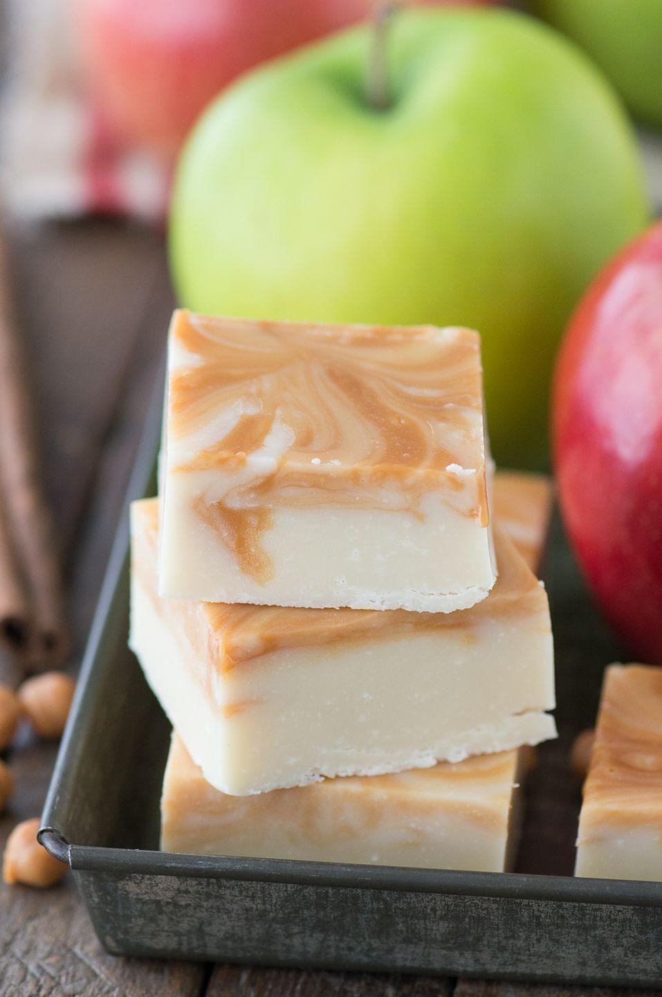 "<p>An easy fudge recipe is sure to satisfy your sweet tooth.</p><p><strong>Get the recipe at <a href=""https://thefirstyearblog.com/caramel-apple-fudge/"" rel=""nofollow noopener"" target=""_blank"" data-ylk=""slk:The First Year"" class=""link rapid-noclick-resp"">The First Year</a>.</strong></p><p><a class=""link rapid-noclick-resp"" href=""https://www.amazon.com/Wilton-Perfect-Results-Non-Stick-Multipack/dp/B07328J6QJ?tag=syn-yahoo-20&ascsubtag=%5Bartid%7C10050.g.650%5Bsrc%7Cyahoo-us"" rel=""nofollow noopener"" target=""_blank"" data-ylk=""slk:SHOP BAKING PANS"">SHOP BAKING PANS</a></p>"