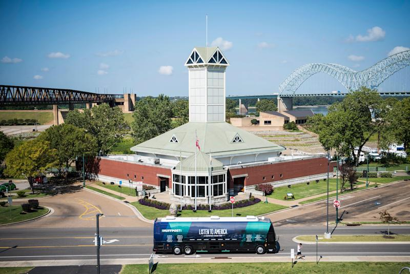 The HuffPost tour bus sits in front of the Tennessee Welcome Center.