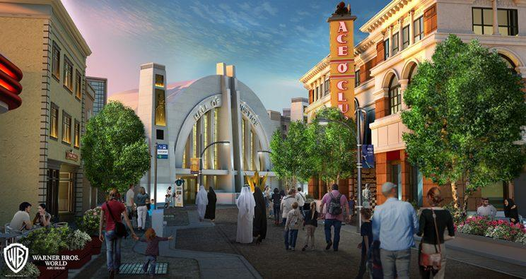 Concept art of Metropolis for proposed Warner Bros. theme park in Abu Dhabi, the United Arab Emirates
