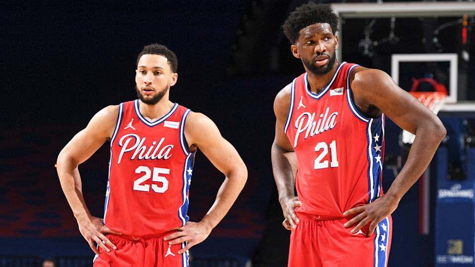 Ben Simmons and Joel Embiid will return to the NBA court next week, once their quarantine period is complete. The pair missed the recent All Star game after a barber they visited later tested positive for the coronavirus. (Photo by  Garrett Ellwood/NBAE via Getty Images)
