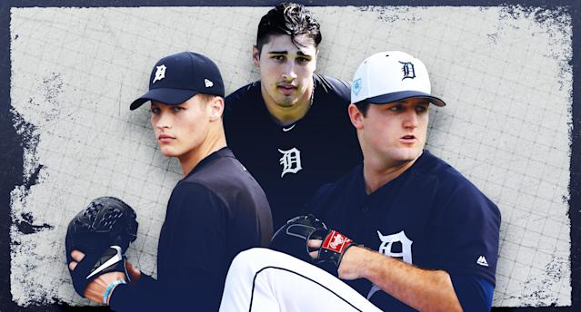 "Matt Manning, Alex Faedo, and Casey Mize should make an impact on the <a class=""link rapid-noclick-resp"" href=""/mlb/teams/detroit/"" data-ylk=""slk:Detroit Tigers"">Detroit Tigers</a>' starting rotation in the near future. (Paul Rosales/Yahoo Sports)"