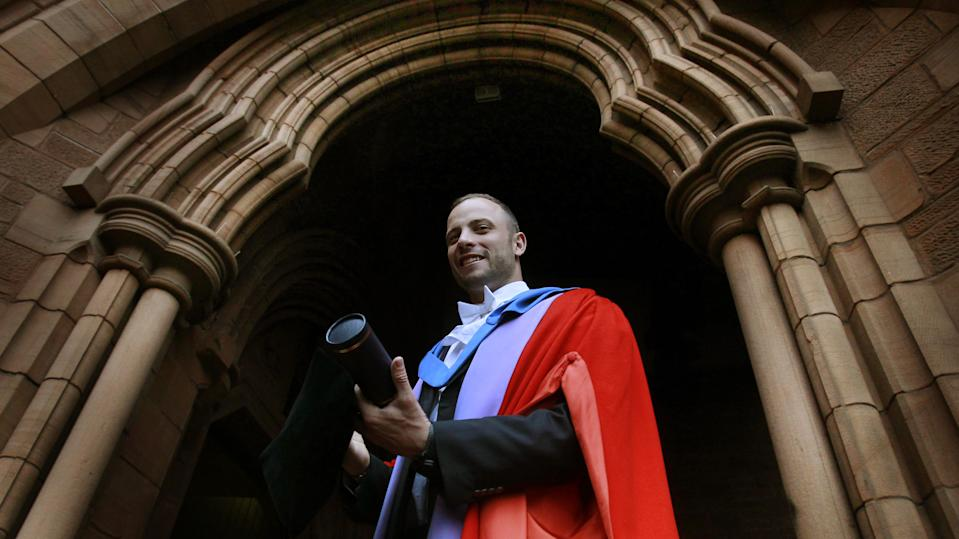 """Oscar Pistorius who is nicknamed """"Blade Runner"""" receives an honorary degree from the University of Strathclyde, at the Barony Hall in Glasgow, Scotland."""
