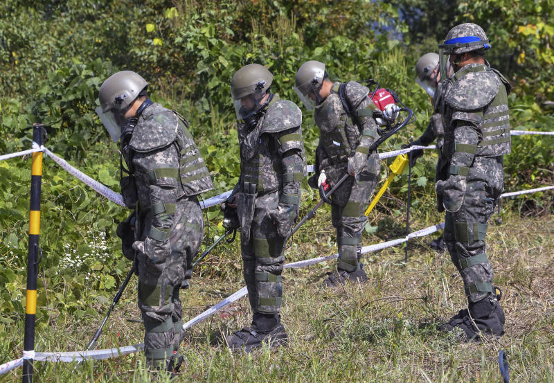 FILE - In this Oct. 2, 2018, file photo, South Korean army soldiers search for landmines inside the Demilitarized Zone (DMZ) that separates the two Koreas in Cheorwon, South Korea. South Korea's military on Monday, April 1, 2019, is separately searching for Korean War remains at the heavily armed inter-Korean border after North Korea ignored its calls to carry out a previously planned joint search. (Song Kyung-Seok/Pool Photo via AP. File)