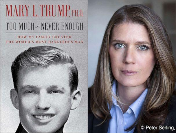 PHOTO: The cover art for the book, 'Too Much and Never Enough: How My Family Created the World's Most Dangerous Man,' left, and a portrait of author Mary L. Trump, Ph.D. (Simon & Schuster via AP)