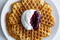 """Crisp, delicate, and really just a vessel for delicious jam options. Also: pretty! <a href=""""https://www.bonappetit.com/recipe/crisp-waffles?mbid=synd_yahoo_rss"""" rel=""""nofollow noopener"""" target=""""_blank"""" data-ylk=""""slk:See recipe."""" class=""""link rapid-noclick-resp"""">See recipe.</a>"""