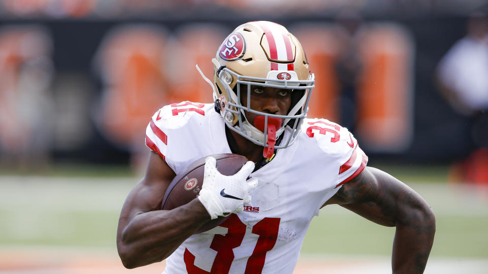 Niners running back Raheem Mostert has requested a trade. (AP Photo/Gary Landers)