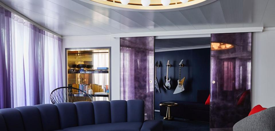 The Rockstar Quarters cabins were designed by Tom Dixon and guests booking the exclusive suites enjoy marble clad bathrooms and exclusive access to private areas onboard (Virgin Cruises)
