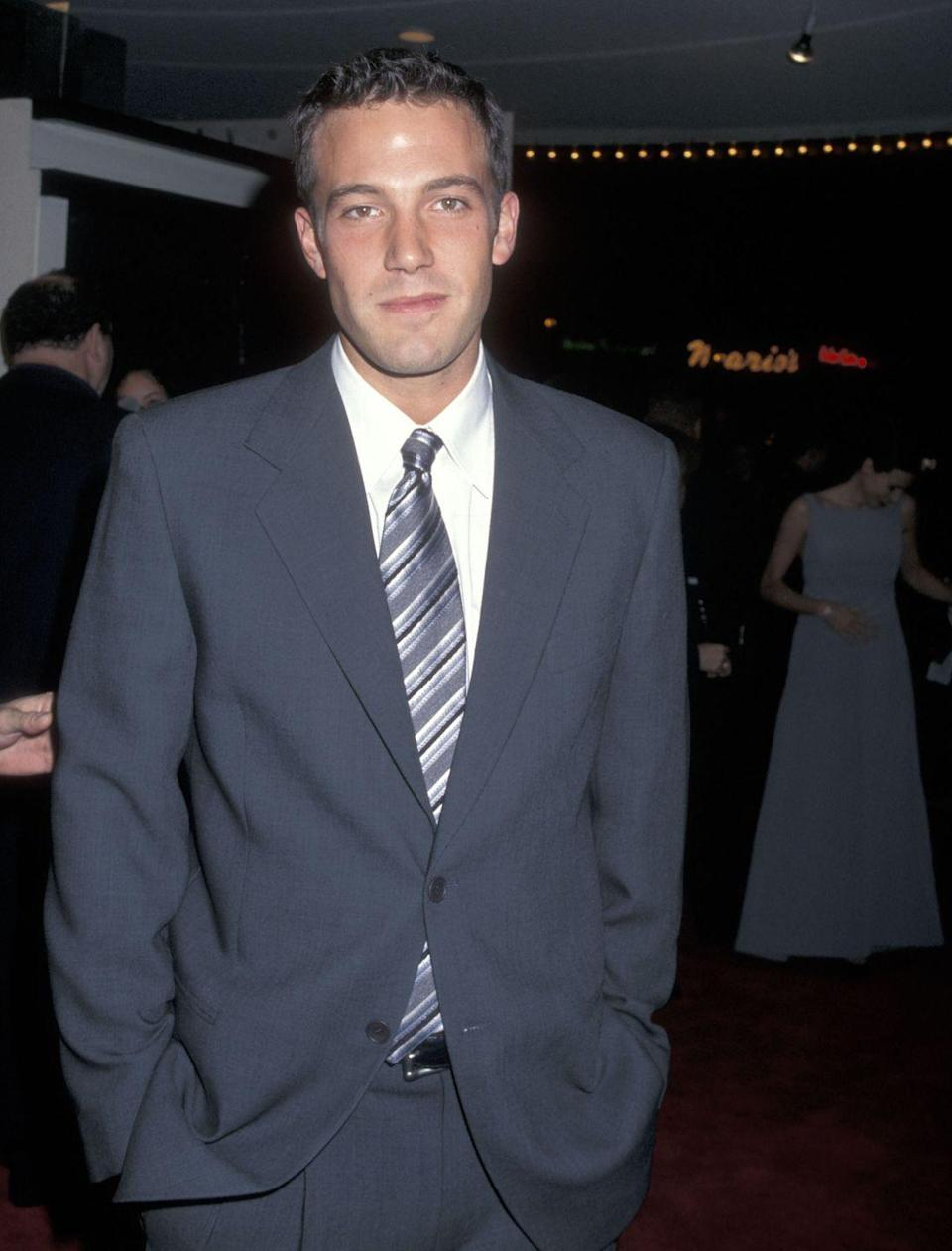 <p>Ben Affleck decided to take his career into his own hands when he co-wrote and starred in his first major film <em>Good Will Hunting </em>with Matt Damon. Here he is at the big premiere.</p>