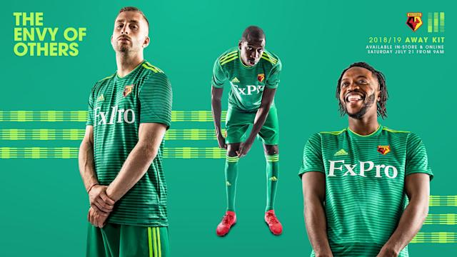 <p>Watford were applauded for giving all fans who attended all 19 away games a free kit, but they might be the only ones wearing this green number. It looks more like a goalkeeping strip than an away one and is not adidas' finest work. (Watford's website) </p>