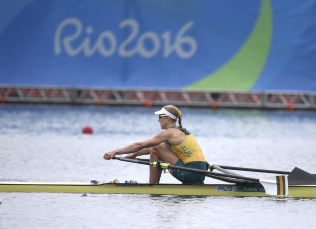 2016 Rio Olympics - Rowing - Semifinal - Women's Single Sculls Semifinals - Lagoa Stadium - Rio De Janeiro, Brazil - 12/08/2016. Brennan Kimberley (AUS) of Australia competes. REUTERS/Carlos Barria FOR EDITORIAL USE ONLY. NOT FOR SALE FOR MARKETING OR ADVERTISING CAMPAIGNS.