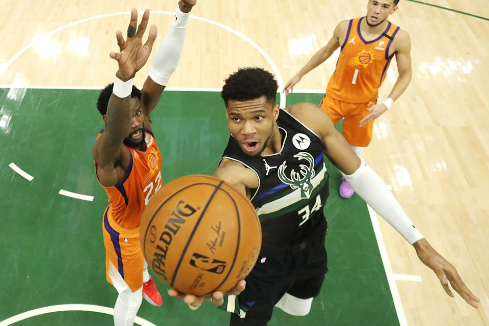 Giannis Antetokounmpo became the first player to record at least 50 points, 10 rebounds and five blocks in an NBA Finals game since blocks were tracked starting in 1973-74.