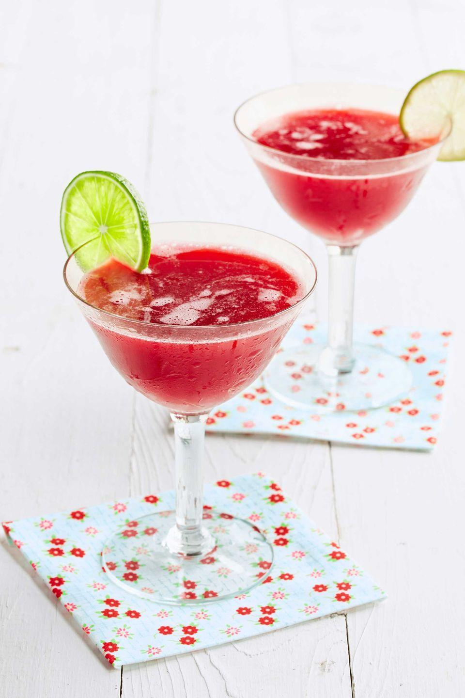 """<p>A good daiquiri will make you feel like your lounging on the beach, even in the middle of winter.</p><p><strong><a href=""""https://www.countryliving.com/food-drinks/recipes/a38959/honeyed-cherry-daiquiri-recipe/"""" rel=""""nofollow noopener"""" target=""""_blank"""" data-ylk=""""slk:Get the recipe"""" class=""""link rapid-noclick-resp"""">Get the recipe</a>.</strong><br></p><p><a class=""""link rapid-noclick-resp"""" href=""""https://www.amazon.com/Elite-Cocktail-Shaker-Bartender-BARILLIO/dp/B01L6R2O0O/?tag=syn-yahoo-20&ascsubtag=%5Bartid%7C10050.g.30433150%5Bsrc%7Cyahoo-us"""" rel=""""nofollow noopener"""" target=""""_blank"""" data-ylk=""""slk:SHOP BAR TOOLS"""">SHOP BAR TOOLS</a><br></p>"""
