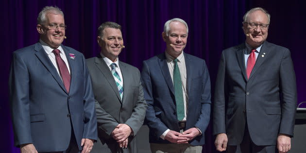 P.E.I. NDP Leader Joe Byrne, , left to right, Progressive Conservative Leader Dennis King, Green Leader Peter Bevan-Baker and Liberal Leader Wade MacLauchlan pose for a photo at the leaders debate at the Harbourfront Theatre in Summerside, P.E.I. on April 16, 2019.