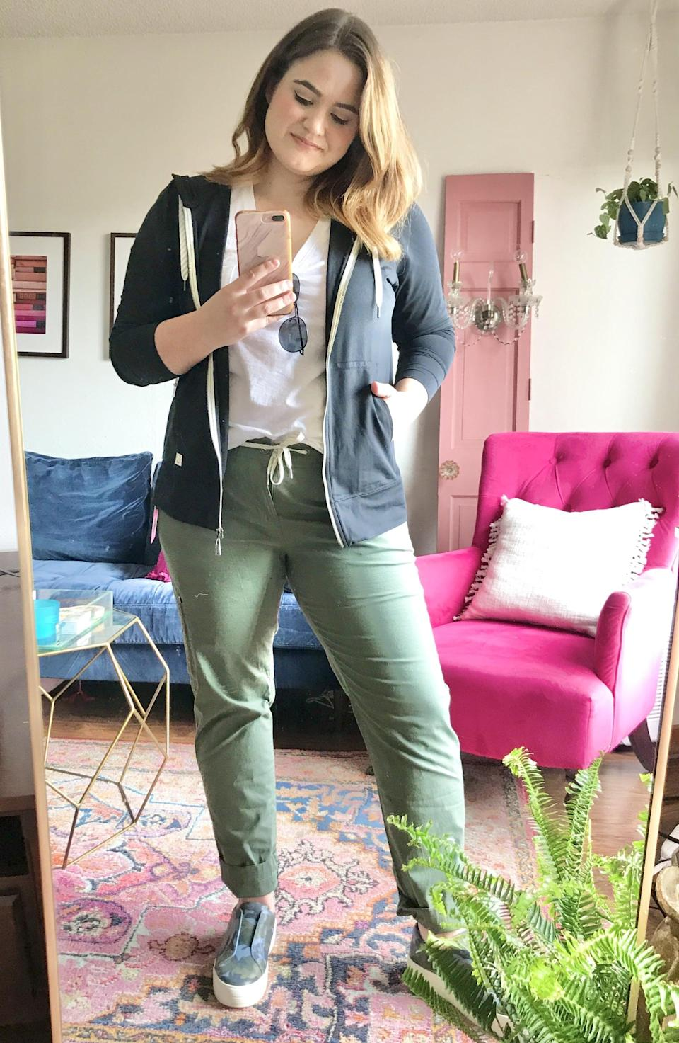 """<p><strong>The Pieces in My Trunk:</strong> <a href=""""https://www.popsugar.com/buy/Vuori-Ripstop-Pants-578663?p_name=Vuori%20Ripstop%20Pants&retailer=shop.nordstrom.com&pid=578663&price=89&evar1=fab%3Aus&evar9=47518852&evar98=https%3A%2F%2Fwww.popsugar.com%2Fphoto-gallery%2F47518852%2Fimage%2F47518856%2FWeekend-Errands&list1=reviews%2Cshopping%2Cnordstrom%2Ceditors%20pick%2Cproduct%20reviews%2Csubscription%20boxes%2Cfashion%20shopping%2Cstaying%20home&prop13=api&pdata=1"""" class=""""link rapid-noclick-resp"""" rel=""""nofollow noopener"""" target=""""_blank"""" data-ylk=""""slk:Vuori Ripstop Pants"""">Vuori Ripstop Pants</a> ($89)<br> <a href=""""https://www.popsugar.com/buy/Vuori-Performance-Zip-Front-Hoodie-578664?p_name=Vuori%20Performance%20Zip%20Front%20Hoodie&retailer=shop.nordstrom.com&pid=578664&price=89&evar1=fab%3Aus&evar9=47518852&evar98=https%3A%2F%2Fwww.popsugar.com%2Fphoto-gallery%2F47518852%2Fimage%2F47518856%2FWeekend-Errands&list1=reviews%2Cshopping%2Cnordstrom%2Ceditors%20pick%2Cproduct%20reviews%2Csubscription%20boxes%2Cfashion%20shopping%2Cstaying%20home&prop13=api&pdata=1"""" class=""""link rapid-noclick-resp"""" rel=""""nofollow noopener"""" target=""""_blank"""" data-ylk=""""slk:Vuori Performance Zip Front Hoodie"""">Vuori Performance Zip Front Hoodie</a> ($89)<br> <a href=""""https://www.popsugar.com/buy/Madewell-Whisper-Cotton-V-Neck-Tank-578660?p_name=Madewell%20Whisper%20Cotton%20V-Neck%20Tank&retailer=shop.nordstrom.com&pid=578660&price=19&evar1=fab%3Aus&evar9=47518852&evar98=https%3A%2F%2Fwww.popsugar.com%2Fphoto-gallery%2F47518852%2Fimage%2F47518856%2FWeekend-Errands&list1=reviews%2Cshopping%2Cnordstrom%2Ceditors%20pick%2Cproduct%20reviews%2Csubscription%20boxes%2Cfashion%20shopping%2Cstaying%20home&prop13=api&pdata=1"""" class=""""link rapid-noclick-resp"""" rel=""""nofollow noopener"""" target=""""_blank"""" data-ylk=""""slk:Madewell Whisper Cotton V-Neck Tank"""">Madewell Whisper Cotton V-Neck Tank</a> ($19)<br> <a href=""""https://www.popsugar.com/buy/JSlides-Heidi-Platform-Slip--Sneakers-583813?p_name=JSlides%20Heidi%20"""
