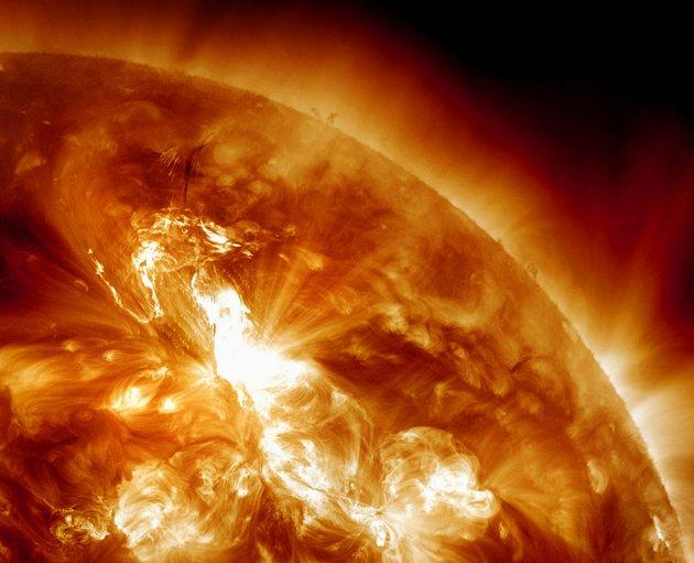 This handout image provided by NASA, taken Sunday night, Jan. 22, 2012, shows a solar flare erupting on the Sun's northeastern hemisphere. Space weather officials say the strongest solar storm in more than six years is already bombarding Earth with radiation with more to come. The Space Weather Prediction Center in Colorado observed a flare Sunday night at 11 p.m. EST. Physicist Doug Biesecker said the biggest concern from the speedy eruption is the radiation, which arrived on Earth an hour later. It will likely continue through Wednesday. It's mostly an issue for astronauts' health and satellite disruptions. It can cause communication problems for airplanes that go over the poles. (AP Photo/NASA)