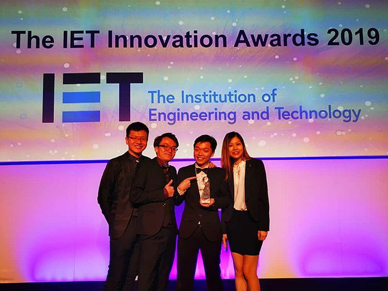Malaysian students Chin Joo Tan, Chong Cheen Ong, Ivan Ling and Bao Lee Phoon win the Institute of Engineering and Technology innovation award in London. — Picture courtesy of the team