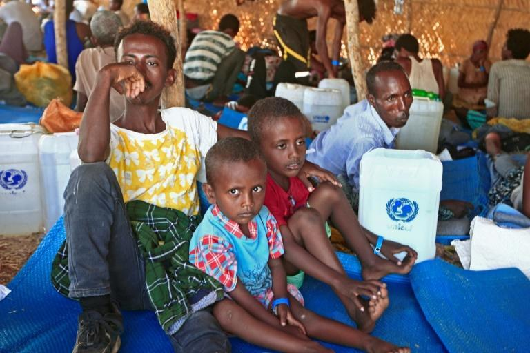 """The UN estimates that some 12,000 Ethiopian children are living in """"extremely harsh"""" conditions in overcrowded camps in neighbouring Sudan. More than two million more are in urgent need of assistance inside Ethiopia"""