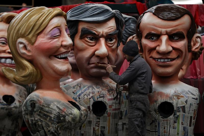 Sparring images: French presidential candidates (from left) Marine Le Pen, Francois Fillon and Emmanuel Macron will be seeking to paint themselves as leadership material in their first TV debate on Monday