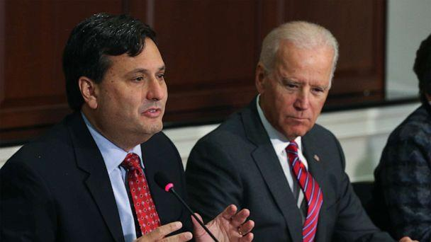 PHOTO: Ebola Response Coordinator Ron Klain, left, joined by Vice President Joseph Biden, speaks during a meeting regarding Ebola at the Eisenhower Executive office building, Nov. 13, 2014 in Washington,  D.C. (Mark Wilson/Getty Images, FILE)